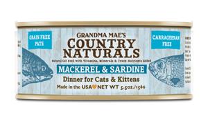 Grandma Mae's Country Naturals 無穀物 鯖魚沙甸魚醬煮配方 貓罐頭 5.5 oz