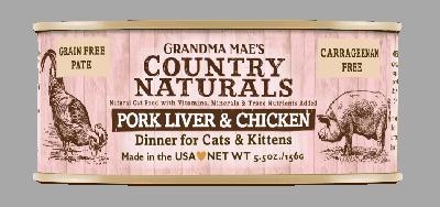 Grandma Mae's Country Naturals 無穀物 豬肝雞肉醬煮配方 貓罐頭 5.5 oz