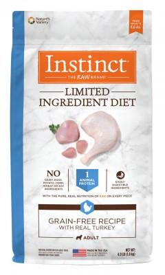 NATURE'S VARIETY INSTINCT Limited Ingredient Diet 無穀物 單一配方 低敏火雞肉 乾狗糧 4lb