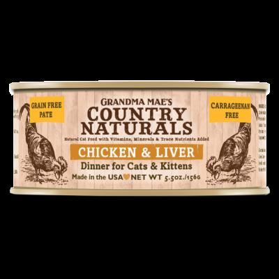 Grandma Mae's Country Naturals 無穀物 雞肉嫩肝醬煮配方 貓罐頭 5.5 oz