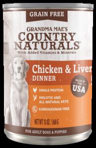 Grandma Mae's Country Naturals 無穀物雞肉雞肝配方 狗罐頭 13.2 oz./374 g