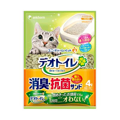 UNICHARM消臭大師一月間消臭抗菌(滲透式)貓砂4L(雙層貓砂盆專用)